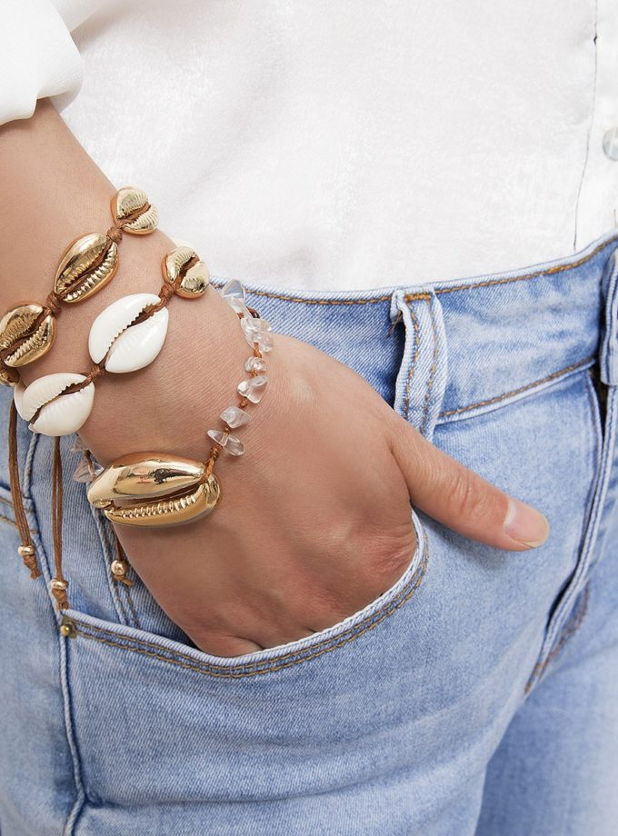 gold sea shell bracelets
