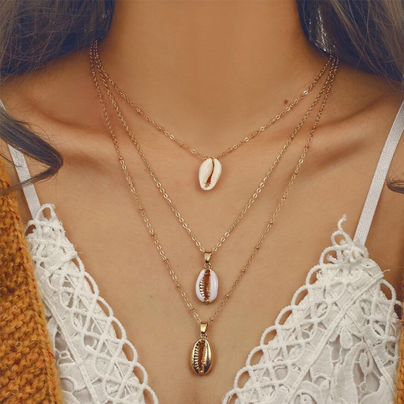 2_Seashell Necklace-Three-Layers-of-Shell-Pendant-Necklace-Natural-Shell-Gold-Cowrie-Women-Cowry-Seashell