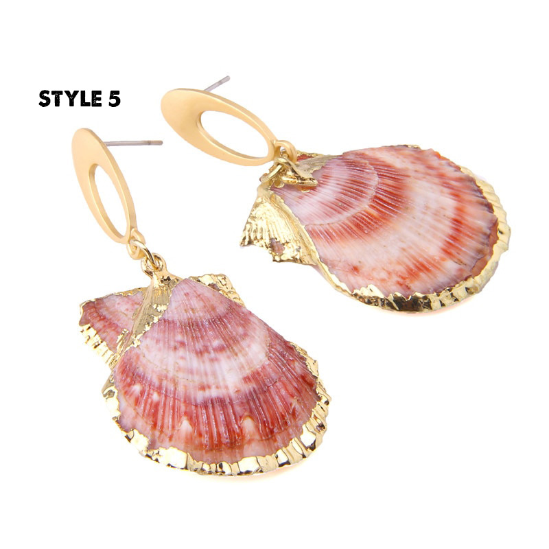 1_Sea-Shell-Statement-Drop-Earrings-Seashell-Gold-Color-Metal-Summer-Beach-Earrings-Women-Seashell earrings-Dangle-Cowrie