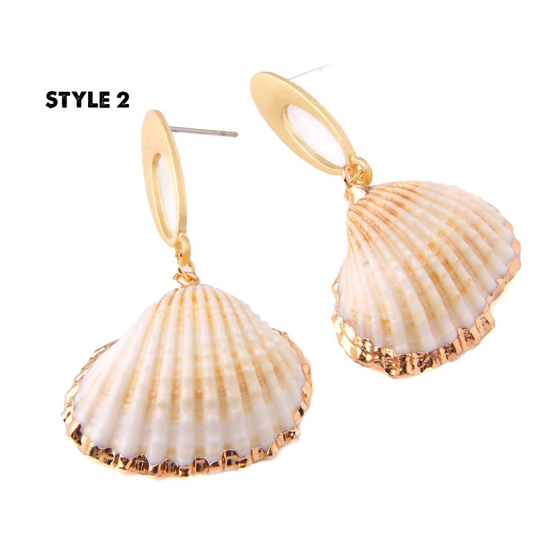 4_Sea-Shell-Statement-Drop-Earrings-Seashell-Gold-Color-Metal-Summer-Beach-Earrings-Women-Seashell earrings-Dangle-Cowrie