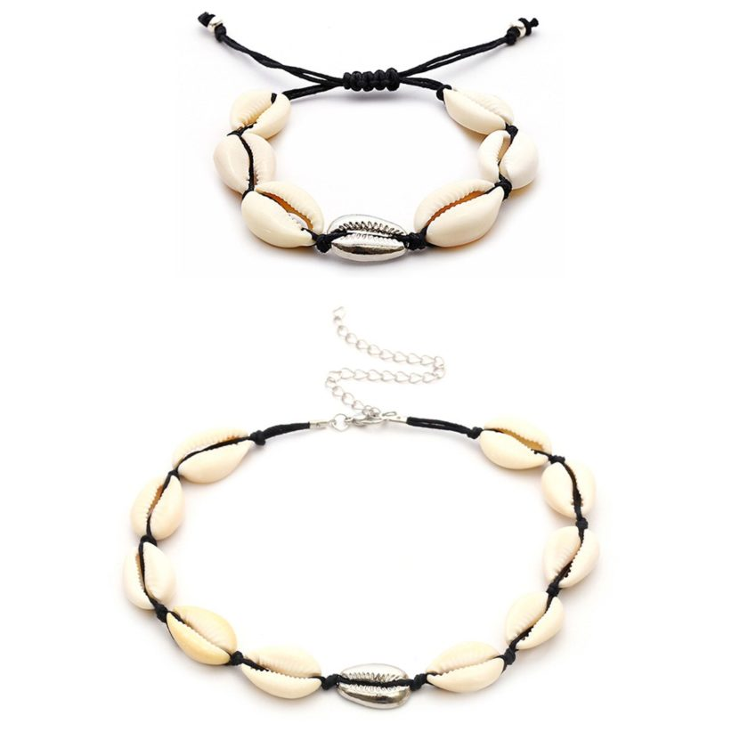 Black Rope & Gold Sea Shell choker